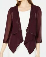 Calvin Klein Women's Jacket Purple Size Small S Bolero Shrug Studded $69 #407
