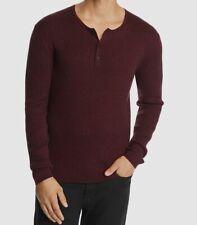NEW John Varvatos Mens Ribbed Knit Long-Sleeve Henley Blue Sizes M L XL $178 NWT