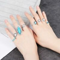 8PCS 925 Sterling Silver Turquoise Opal Rings Set Natural Gemstone Ring