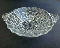 """Vintage Depression Glass Anchor Hocking Bowl With Handles Bubble Pattern 6"""" wide"""