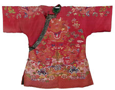 19th ANTIQUE CHINESE EMBROIDERY RED ROBE QING DYNASTY