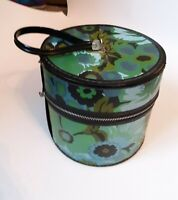Vintage hat/wig carrying case retro floral pattern