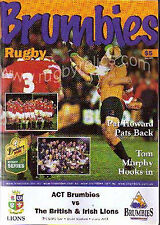 BRITISH LIONS 2001 v ACT BRUMBIES RUGBY PROGRAMME