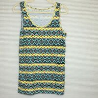 Time & Tru Women's Long Aztec Print Ribbed Stretch T Tank Blouse Top 2X Plus A25