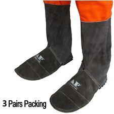 "AP-9400B-3P Leather Welding FR 8"" Leggings Gaiter Shoe Cover Protector   3 Pairs"