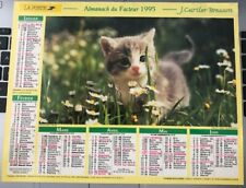 Calendrier Almanach du facteur 1995 BRESSON CARTIER chaton / chiot yorkshire