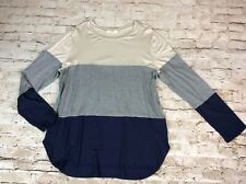 A.gain Womens Top 2x Grey Blue Colorblock Long Sleeve T-Shirt Plus Size Tee New