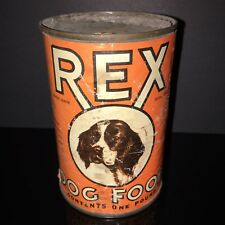 BEST IN SHOW! Rex 1930s Dog Food Tin Can Cocker Spaniel Paper Label Old Pet Shop
