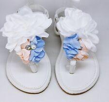 Zapatos de Novia Tiras Sandalias Chanclas de Dedo Flores Blanco Ls 120