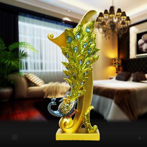 Resin Peacock Shape Dry Flower Vase Art Sculpture Office Living Room Decor