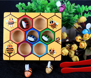 Children Montessori Educational Toys Kids Preschool Wooden Bee Clip Out Toy Gift