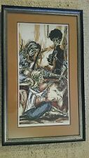 """Mervin Jules Woodcut Relief Print """" Trio"""". Framed, hand signed """"Proof"""""""