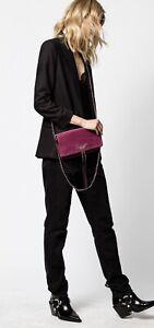 NWT Authentic Zadig & Voltaire Rock Suede Patent clutch / Crossbody bag In Prune