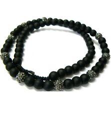 "Black Onyx Hematite Round Ball Beads Hip Hop Men Unisex Long Necklace 30"""
