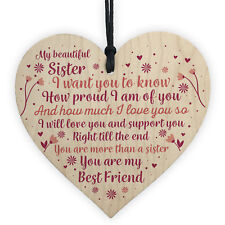 Sister Birthday Card Gift Wood Heart Gifts For Christmas Best Friend Sign
