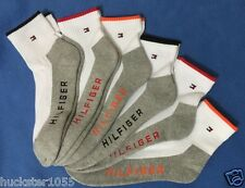 Tommy Hilfiger 6-Pair Men's Athletic Quarter Crew Socks White w/Gray Sole (9387)