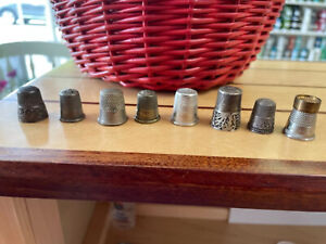 Lot of 8 ANTIQUE STERLING NICKEL BRASS THIMBLES