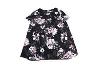 Ingrid & Isabel Maternity  Womens Black White Blue Floral Tunic top size S Small