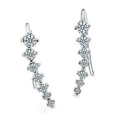 Ladies Women Big Dipper Climbers Silver Plated Zirconia Ear Hook Stud Earrings