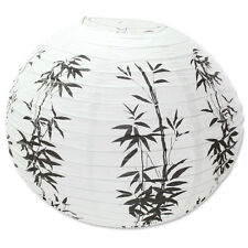 "16"" Chinese Japanese Black & White Bamboo Paper Lantern Wedding Party Decor"