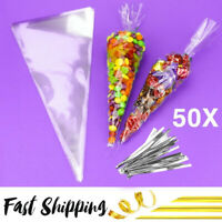 CLEAR CELLOPHANE CONE BAGS LARGE- Sweet candy kids Party Favour Cones cello
