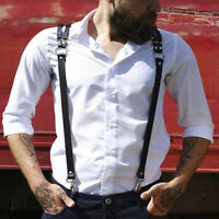 Pants Leather Suspenders 3 Hooks Braces Vintage Business Trousers Brace