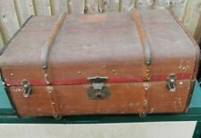 Vintage Wooden Banded Steamer Trunk Chest labeled Luggage 70 x 50 x 30 cm