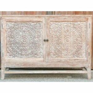 Made to Order Floral Hand Carved Solid wood Sideboard Whitewash M