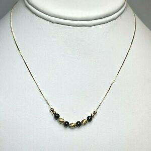 "Vintage 14k Yellow Gold Black Onyx and Gold Beads Serpentine Chain 14"" Necklace"