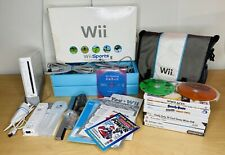 Nintendo Wii Console with Wii Sports Bundle Complete In Box 10 Games Bag Lot