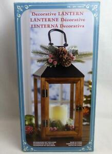 Hanging Standing Lantern & Flameless Candle Indoor Use Timer Wood Glass New