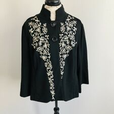 Coldwater Creek Womens Size Medium Cape Jacket Cardigan Black Embroidered Floral