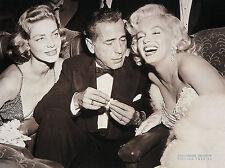 CELEBRITY ART PRINT Hollywood Triangle Mariyln Monroe Bacall Bogart 24x32 Poster