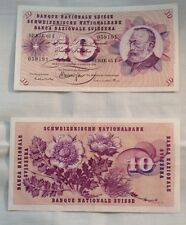1970 10 Swiss Suisse Francs Banknote Bill Money Note Gottfried Keller
