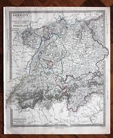Original antique map GERMANY, BAVARIA,  SWITZERLAND, TYROL, SDUK, 1845