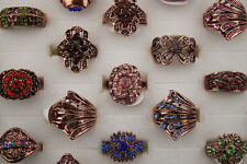 Wholesale Mixed Design 20pcs Crystal Rhinestone age-old Rose Gold Women Rings