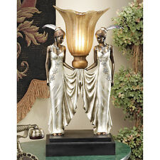 Art Deco Torchiere Twin Maidens Feathered Headdresses Gallery Desk Table Lamp