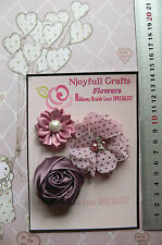 Salmon Pink & Wine Fabric Organza Satin 3 Flowers 35-55mm Njoyfull Crafts E2