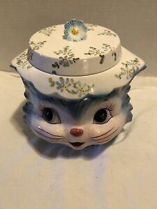 CUTE-VINTAGE Miss Priss Blue Kitty Cat Ceramic Cookie Jar Lid Lefton Japan #1502