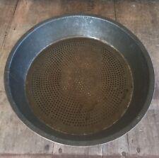 "Vintage Old Metal Tin Pan Sieve Strainer Sifter Primitive Farmhouse Kitchen 10"""