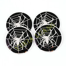 4x 56.5mm White Spider Emblem Car Steering Wheel Center Hub Cap Badge Stickers