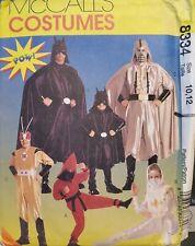 McCall's Costumes pattern 8334 Children's Super-Hero Costumes size 10, 12 uncut