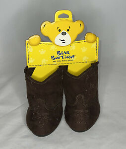 Build a Bear Workshop BABW BAB Shoes Cowbear Boots Cow Boy Dark Brown Boots New
