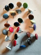 FABRIC COVERED UPHOLSTERY BUTTONS 10X NO 30 NAIL BACK 25 COLOURS FAUX LEATHER
