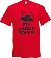 MY DADDY ROCKS DRUMMER DRUMS FUNNY HUMOR 100%  COTTON  T SHIRT