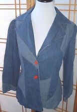 Boho Patchwork Vintage Denim Jacket Womens Mixed blues with red buttons