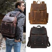 "Vintage Men Full Grain Leather 16"" Laptop Backpack School Bag Travel Bag Daypack"
