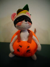 """ANNALEE 7"""" MASKED MOUSE IN PUMPKIN HALLOWEEN COSTUME MASQUERADE 1997"""