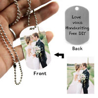 Personalized Engraved Text Necklace Photo Picture Pendant Chain Dog Tag ID Gift