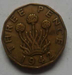 1942 King George VI Three Pence Coin Great British Coin